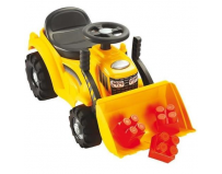 Buldozer ride-on cu incarcator frontal si 6 cuburi de construit