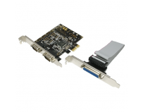 Card pci-express 1x adaptor la 2x serial rs232 9-pin + 1x paralel d9sub 25-pin, chipset netmos, mod imprimanta spp/epp/ecp si suport bidirectional, logilink (pc0033)