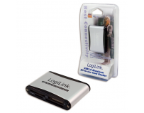 Card reader all-in-one logilink (cr0001b), extern usb2.0 pentru cf i/ii/ultra cf/md, sd/sdhc/mmc/rs mms, ms/ms-pro/ ms-duo/ms-pro-duo, xd, micro sd/micro sdhc, viteza 480mbps, negru-argintiu
