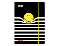 Mapa A4 inchidere cu ealstic, Motiv Smiley Black&Yellow Stripes