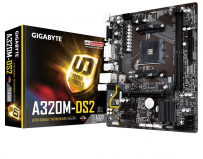 Placa de baza Gigabyte Socket AM4, A320M-DS2, AMD A320, 2*DDR4 DIMM 3200(O.C.)/2933(O.C.)/2667*/2400/2133