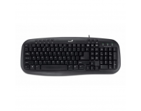 Tastatura Genius KB-M200, cu fir, US layout, neagra, 8 multimedia buttons, low-profile buttons, USB