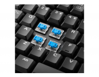 Tastatura Gaming Sharkoon, Pure Writer TKL, low profile, Kailh Blue, Blue LED, cu fir, US layout, Black,