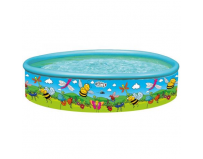 Piscina cu perete rigid si imprimeu flowers and friends, 185 x 39 cm