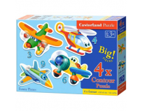 Puzzle 4 in 1 ( 3+4+6+9 ) Funny Planes - Castorland