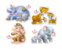 Puzzle 4 in 1 Jungle Babies Castorland