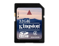 Secure digital card sdhc 32gb class 4 kingston (sd4/32gb)